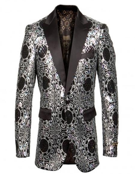 Silver & Black Shawl Lapel Blazer