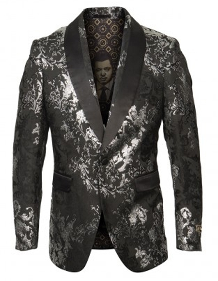 Silver & Black Blazer Perfect Gray Tuxedo Dinner Jacket