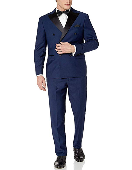 Navy Blue ~ Midnight Double Breasted suits Tuxedo Flat Front Pants