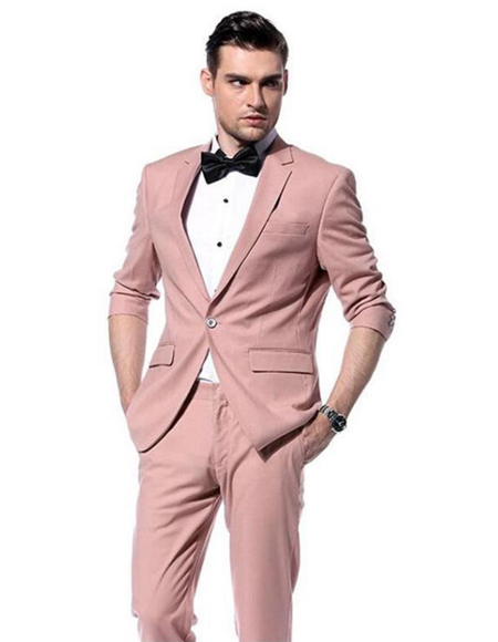 Mens Pink Notch Lapel Blush Perfect for Prom or Wedding Suit