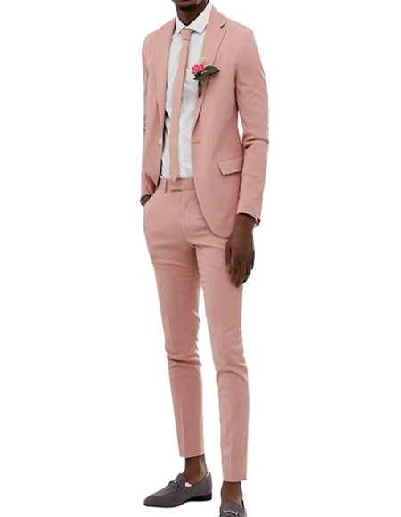 Mens Pink Single Breasted Blush Perfect for Prom or Wedding Suit