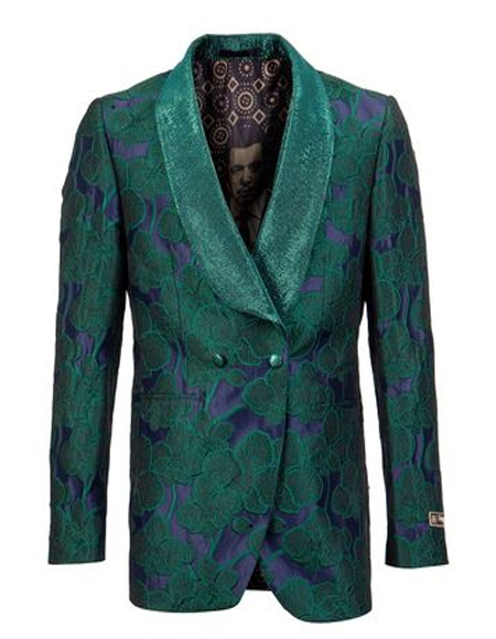 Green Blue Two Button Double Breasted Blazer