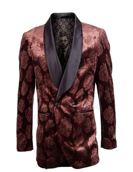 Copper Floral Pattern Double Breasted Blazer