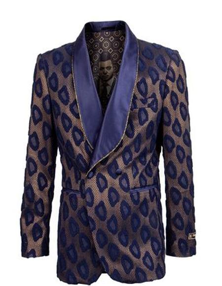 Double Breasted Blazer Floral ~ Velvet Blazer Tuxedo Dinner Jacket Fashion Sport Coat + Navy/Gold
