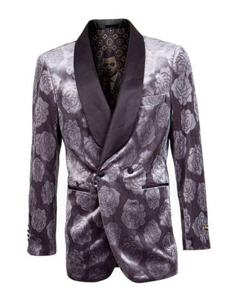 Gray Velvet Collar Two Button Double Breasted Floral ~ Velvet Blazer