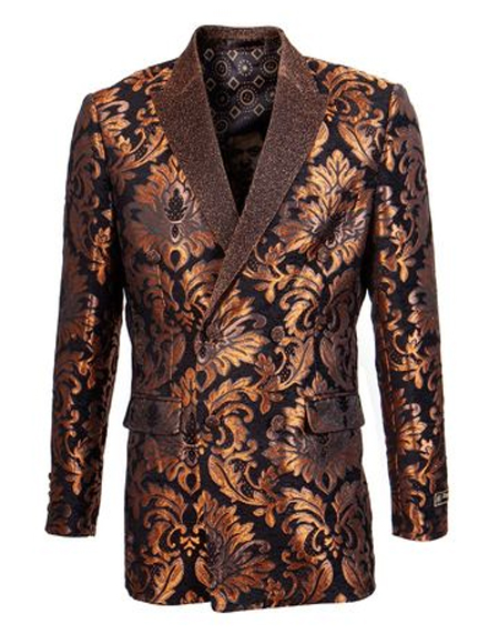 Double Breasted Tuxedo Silver Two Button Floral ~ Velvet  Fashion Sport Coat