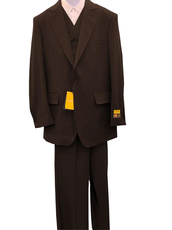 Brown Peak Lapel Vested Style 3 Pieces Suit