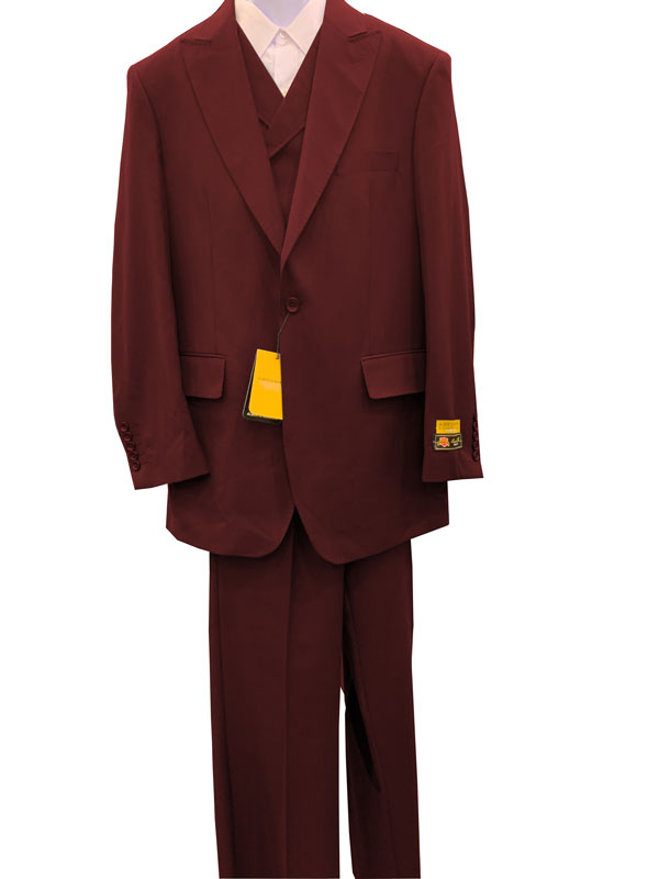 Burgundy 3 Pieces Peak Lapel 1 Button Suit