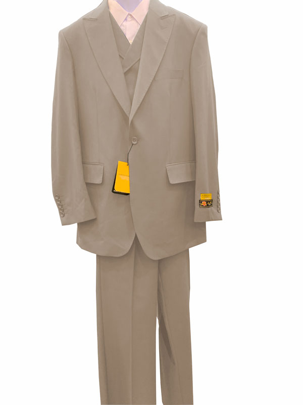 LT.Gray Double Breasted Vested Style 1 Button Suit