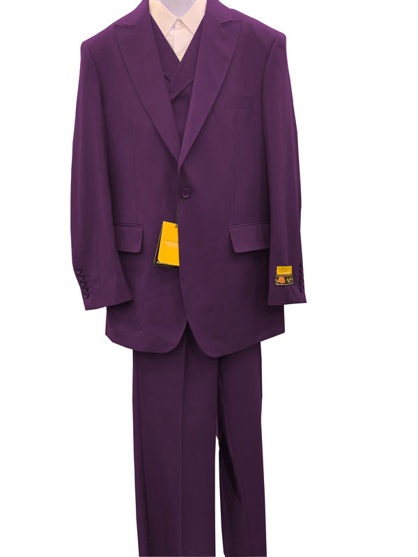 Plum Double Breasted 3 Pieces Wool  Suit