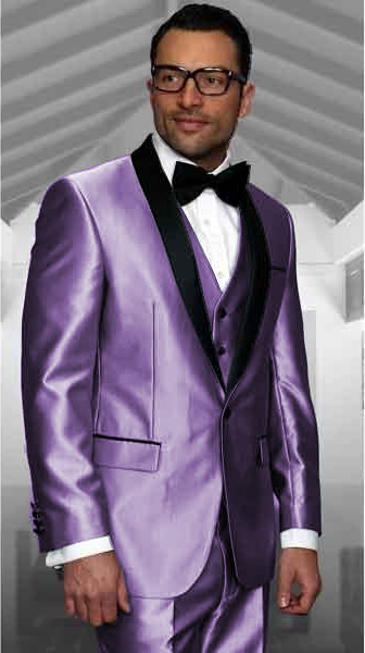 Lavender Tuxedo Shawl Collar Vested Jacket & Vest & Pants 3 Piece Suit Prom or Wedding or Groom Tuxedo
