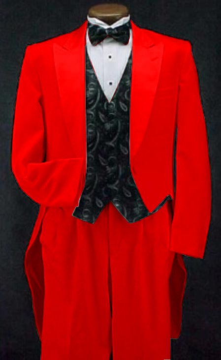 Red Classic Fashion Basic Full Dress Tailcoat Tuxedo Jacket With The Tail Suits For Men