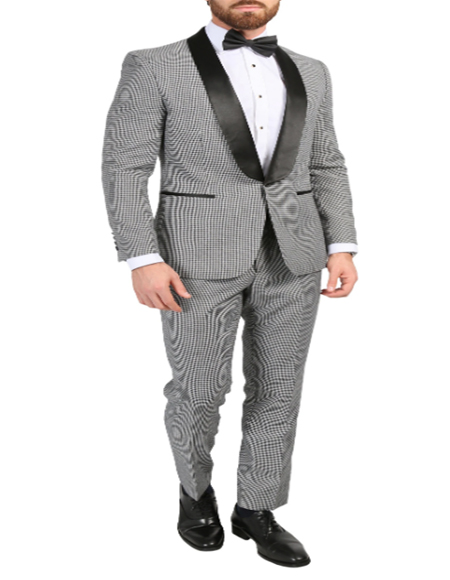 Black And White Checkered Suit - Gray Checkered Texture Houndstooth ~ Herringbone ~ Tweed Suits Slim Fitted - Black And White Checkered Suit
