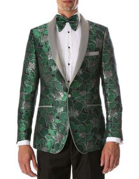 Men's Green Shawl Lapel Floral Pattern Tuxedo