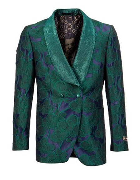 Men's Green Double Vents Shawl Lapel Tuxedo