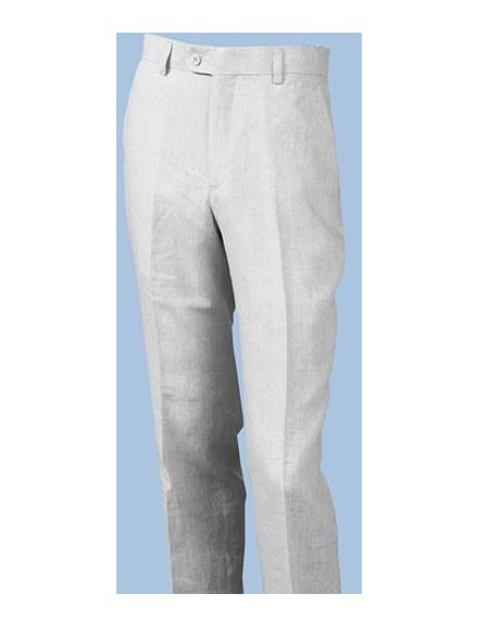Linen Pants for Men White Flat Front P3110-02