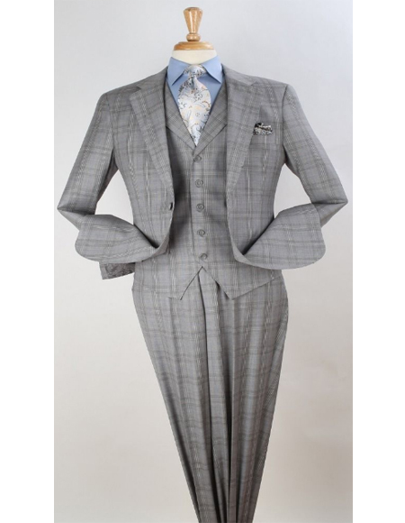 Mens Plaid Suit Classic Fit Suit Men's Grey Windowpane Vested Pleated Pants Classic Fit Checkered Suit