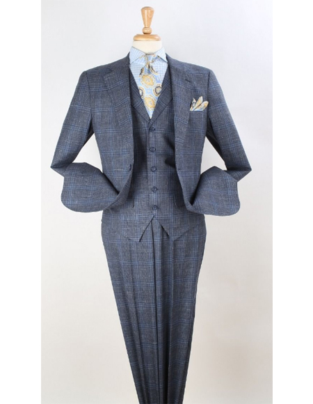 Mens Light Grey Plaid Wool Fabric Checkered Suit