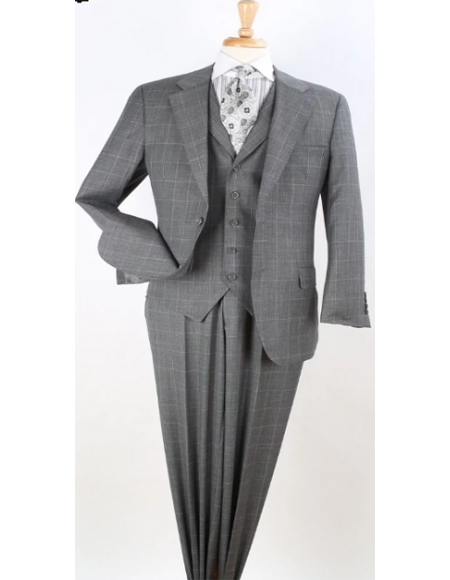 Classic Fit Suit Mens Grey Windowpane Wool Fabric Ticket Pocket Checkered Suit