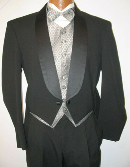 Mens Tailcoat Black Regular Fit Tail Tuxedo Perfect for Wedding or Stage