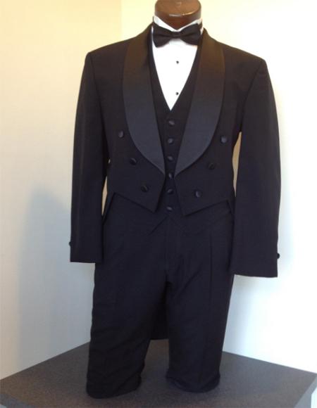 Mens Tailcoat Black 100% Wool Six Button Shawl Lapel Tail Tuxedo