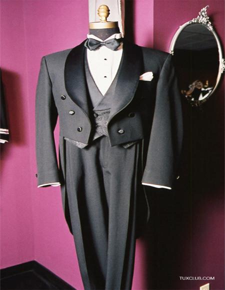 Black Tail Tuxedo Wool Shawl Collar By Alberto Nardoni Perfect for Wedding or Stage