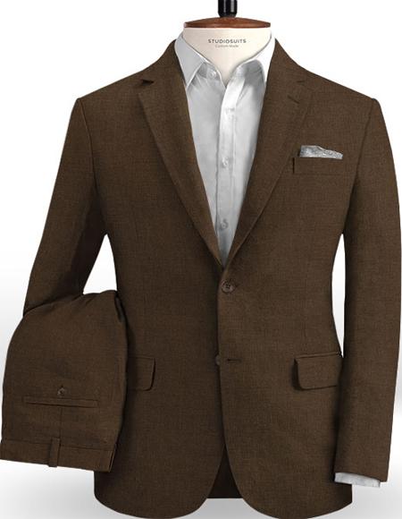 Men's Linen Suits Brown