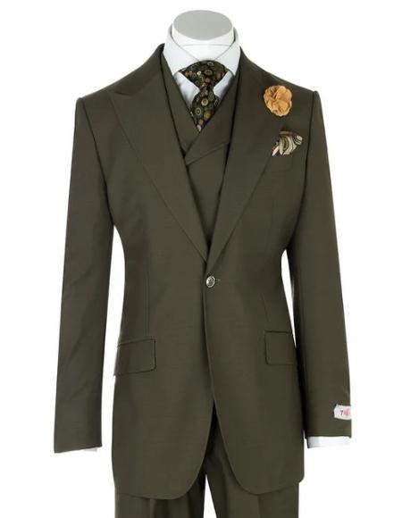 Mens Green Birdseye Wide Leg  Pure Wool Suit and Vest