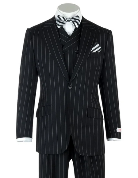 Black Birdseye Wide Leg  Pure Wool Suit and Vest for Men