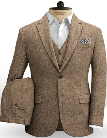 Brown Irish Brown Herringbone Slim Fitted Tweed Fabric Two Welted Back Pockets on Trousers