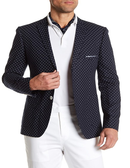 Blue and White Polka Dot Cotton Summer Sportcoat 2 Button Style Perfect For Prom or Casual Blazer