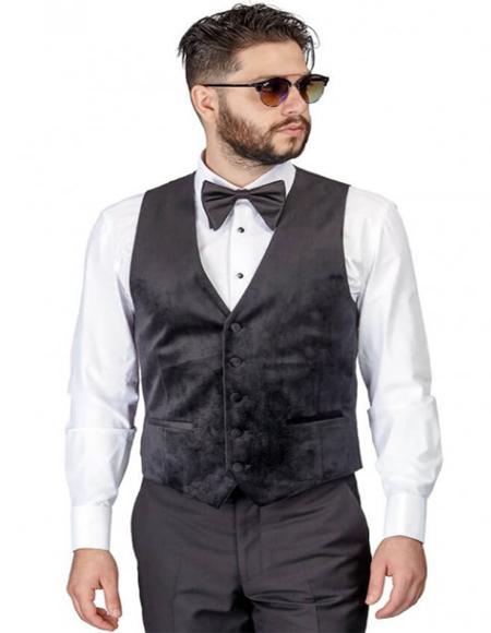 Mens Black 5 Buttons Regular Cut Velvet Waistcoat