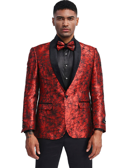 Red And Black Prom ~ Wedding Tuxedo Slim Fit Suit (Pants Vest Included)- Dinner Jacket Blazer Sport Coat + Bow Tie