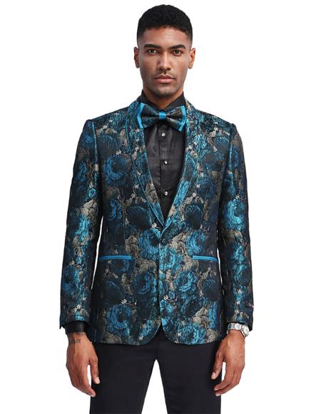 Turquoise ~ Grey One Chest Pocket Prom ~ Wedding Tuxedo