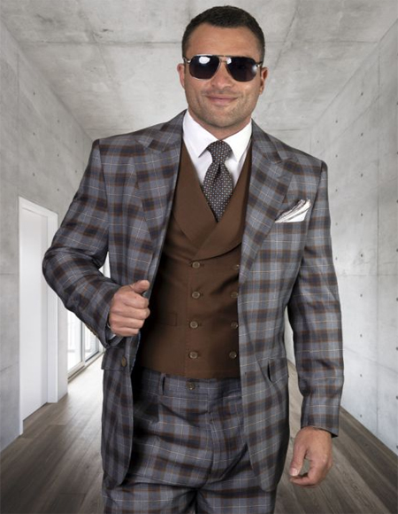 Mens Plaid Suit Classic Fit Suit Mens Copper Wool Side Vents Vest Double Breasted Jacket