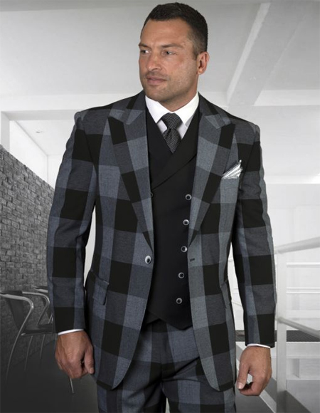 Mens Plaid Suit Classic Fit Suit Mens Black Plaid Windowpane Vested 3 Piece Suit