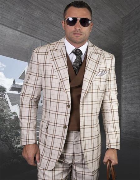 Mens Plaid Suit Classic Fit Suit Mens Tan Side Vents Vest Double Breasted Jacket