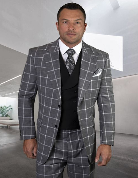 Plaid Windowpane Vested 3 Piece Suit Double Breasted Checkered Suit Black