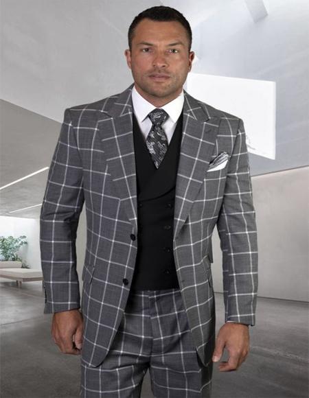 Mens Plaid Suit Classic Fit Suit Mens Black Wool Side Vents Vest Double Breasted Jacket