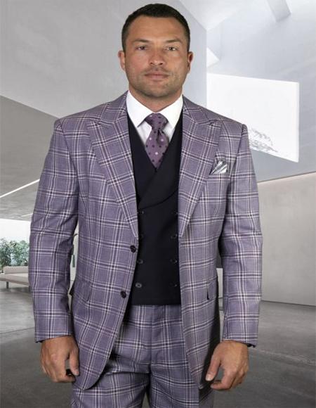 Mens Plaid Suit Classic Fit Suit Mens Egg Plant Besom Pocket Vest Double Breasted Vest