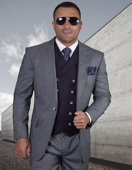 Mens Plaid Suit Classic Fit Suit Mens Celeste Wool Side Vents Vest Double Breasted Jacket