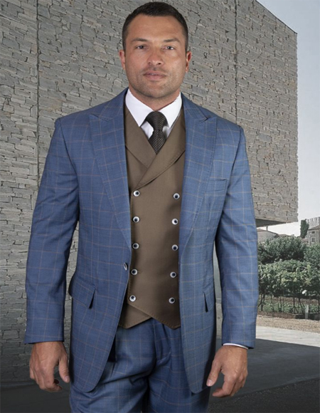 Mens French Blue Wool Side Vents Vest Double Breasted Jacket