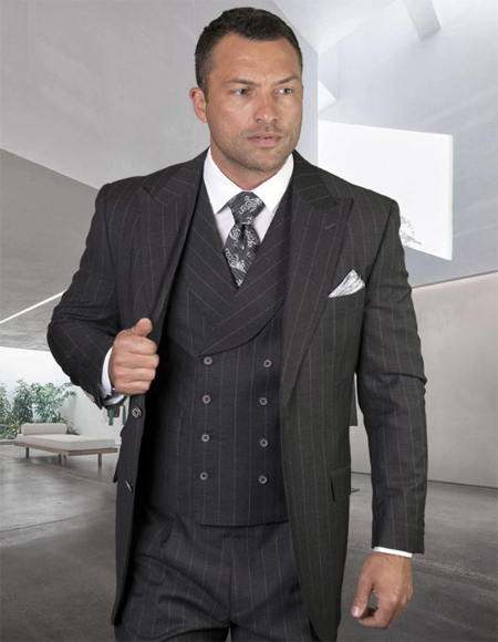 Mens Plaid Suit Classic Fit Suit Mens Grey Side Vents Vest Double Breasted Jacket