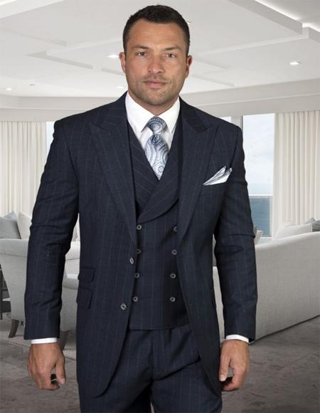Mens Plaid Suit Classic Fit Suit Mens Jacket Peak Lapel Pleated Pants