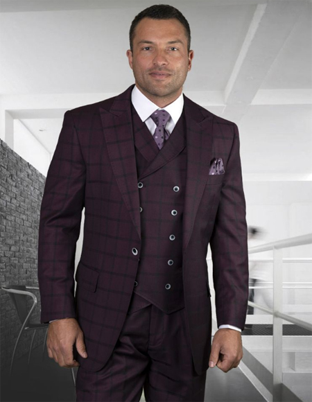 Burgundy Super 150's 100% Wool Pants Lined to the Knee