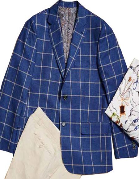 Men's Navy Linen Blazer by Inserch or Merc