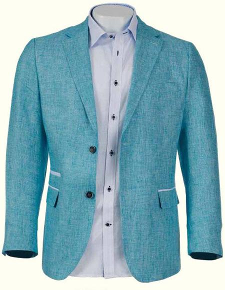 Mens Aqua Linen Blazer by Inserch or Merc