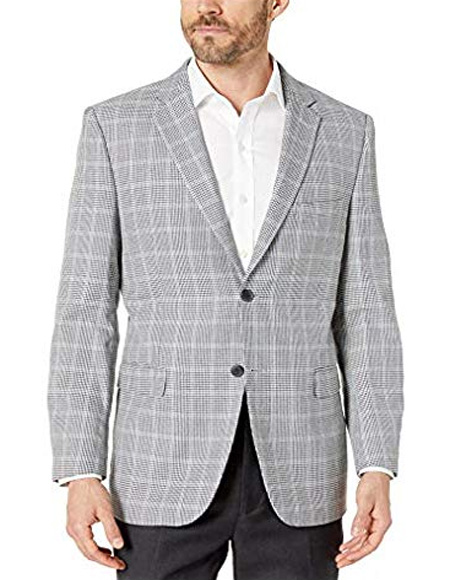 Blue/Grey Houndstooth Check Modern fit 2 button side vent jacket