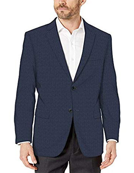 Navy Blue/Blue Check 100% Cotton Modern fit 2 button side vent jacket