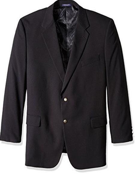 Men's Classic Portly Blazer Solid Black Executive Fit Suit - Mens Portly Suit